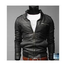 black synthetic leather jacket by gobuu