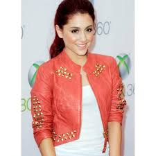 ariana grande red leather studded jacket