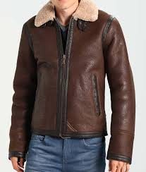 dark brown aviator style mens leather jacket