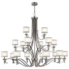 kichler lacey antique pewter 18 light chandelier hover to zoom