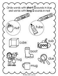 Students will be asked to color the spaces with words that have a long a sound blue in this worksheet, students write the long vowel in the word that matches the picture. Lively Literacy Letter Sound Of The Week Phonics Worksheets Long U