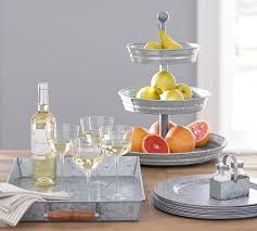 galvanized metal serving tray with wood