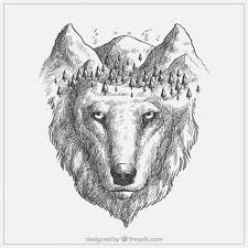 Drawn Wolf Beautiful Hand Drawn Wolf And Wood Vector Premium Download