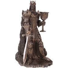 bronze king arthur with goblet and sword statue