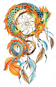Chinese Dream Catcher Impressive Chinese Dragon And Dreamcatcher Card Stock Photo