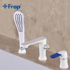 frap three piece bathtub faucet three hole separation split white spray painting hot and cold water mixer with hand shower f1134 bathtub faucets shower