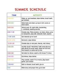 Summer Daily Schedule Template Summer Daily Schedule Template Find Your Dream