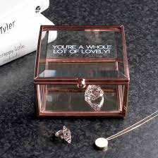 rose gold bevelled glass personalised jewellery box by the letteroom