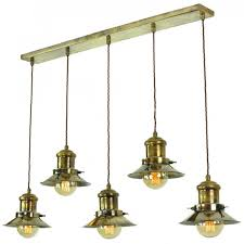 long bar pendant light with a row of vintage style industrial pendants 039