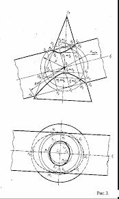 Метод вспомогательных секущих сфер Реферат П роведем из точки О пересечения осей данных поверхностей как из центра произвольную сферу пересекающую каждую из данных поверхностей эта сфера будет