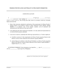 Omnibus Certification Of Authenticity And Veracity Of All Documents
