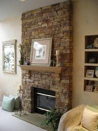Magnificent Stone Exposed Fireplace Ideas With Floating Shelves As Mantel  Decors Added Built In Storage As Decorate Natural Living Room Designs