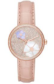 las watch michael kors courtney crystals rose gold pink leather strap mk2718 e oro gr michael kors watches