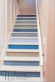 here s the finished project the colorful stairs look great from the bottom of the staircase