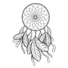 Dream Catcher Saying Interesting Hand Drawn Vector Black Outline Dream Catcher Isolated On White