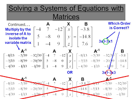 solving a systems of equations with matrices