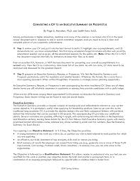 Objective Summary For Resumes Resume Executive Summary Sample Templates At