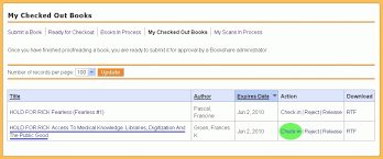 how to check in your finished proof bookshare open space  4 6 1 screenshot of my checked out books a book title underlined and the check in