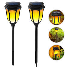 Landscape Lights That Look Like Flames Us 32 9 20 Off 2 Pieces Solar Powered Waterproof Flickering Flames Led Torch Light Lawn Lamps Landscape Lighting For Outdoor Garden Decoration In