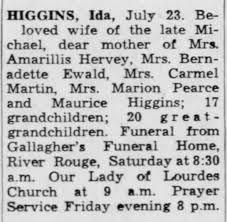Death Notices Higgins, Ida - Newspapers.com