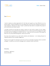Appreciation Letter Sample Template New Letter Of Appreciation To Colleague Appreciation Letter Sample