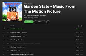 screenshot of garden state soundtrack on spotify