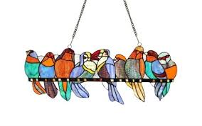 tiffany style stained glass window panel gathering birds group on a wire design