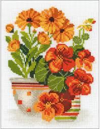 Nasturtiums And Marigolds Cross Stitch Kit