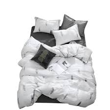 2019 grey feathers white bedding set duvet cover twin queen king flat sheet fitted sheet cotton