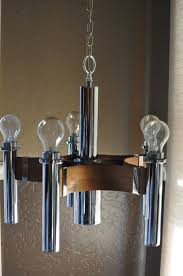 mid century danish modern teak chrome 5 light chandelier vintage atomic era lighting