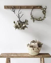 Oak Coat Rack With Baskets Timber coat hook rail in oak 100 pegs Vintage bench Coat hooks 46