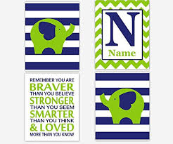 get ations navy blue lime nursery wall art elephant personalize name art monogram you are braver boy room