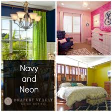 Neon Bedroom Color Trends Decorating With Navy Blue And Neon Drapery Street
