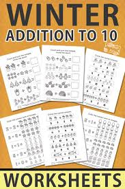 Winter Addition Worksheets to 10 - Itsy Bitsy Fun