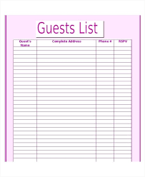 Printable Wedding Guest List Organizer Wedding Guest List Printable Checklist Pdf Invite Template