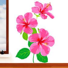 Rubybloom Designs Rubybloom Designs Tropical Hibiscus Flower Mural Wall Sticker Floral Art Vinyl Decal Transfer