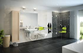 Funky Bathroom Love The Green Accents And The Shower Seat That Is More Than The