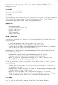 Preschool Teacher Resume Template Professional Special Education Preschool  Teacher Templates To Template