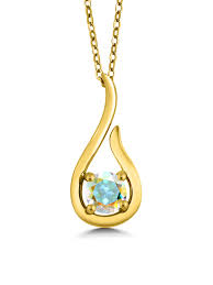 gem stone king 18k yellow gold plated silver 0 55 ct mercury mist mystic topaz pendant w chain com
