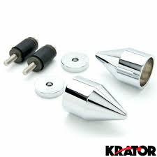 Silver Spike <b>Bar Ends Hand</b> Grip End Caps For Suzuki Katana 600 ...