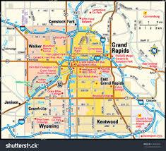 grand rapids michigan area map stock vector   shutterstock