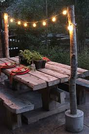 cool outdoor lighting. unique diy string light poles with concrete bases cool backyard ideas outdoor lighting