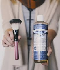 clean up your makeup brushes using dr bronner s soap