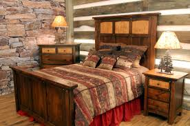 Pine Log Bedroom Furniture Majestic Handmade High Headboard Full Size Rustic Bed With Log