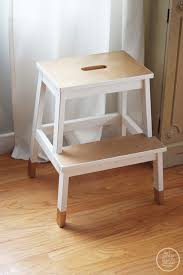 Kitchen stool, but could store in corner of dining room. diy painted stool,  dipped furniture look. Bekvam Stool ...