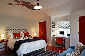 gray and red bedroom. built in desk gray and red bedroom d