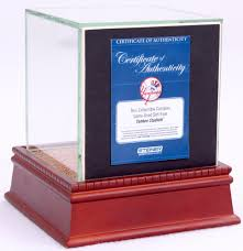 mariano rivera single baseball display case with stat plaque background image authentic stadium dirt