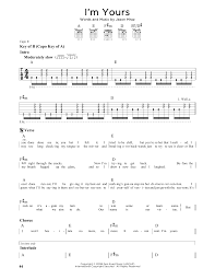 I M Yours Ukulele Strumming Pattern Mesmerizing I'm Yours Sheet Music By Jason Mraz Guitar Lead Sheet 48