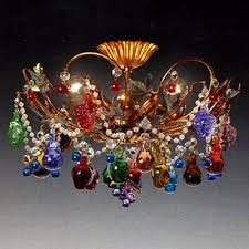 murano ceiling lamp with fruits and gs