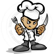 Chef Guy Kitchen Decoration Tough Guy Cartoon Kitchen Chef With Hat Holding Knife And Fork